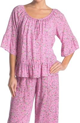 Kensie Floral 3/4 Sleeve Ruffled Pajama Top