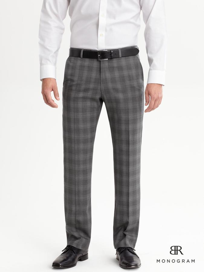 Banana Republic BR Monogram Gray Plaid Italian Wool Suit Trouser