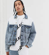 Collusion COLLUSION denim jacket in blue and white spliced