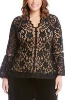 Karen Kane Plus Size Women's Bell Sleeve Lace Top