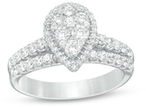 Zales 1 CT. T.W. Composite Diamond Pear-Shaped Frame Bridal Set in 14K White Gold
