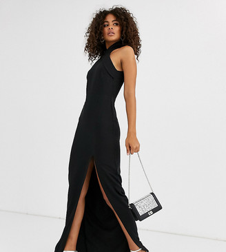 Vesper Tall high neck maxi dress with thigh split in black