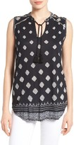 Lucky Brand Women's Shoulder Detail Diamond Print Shell