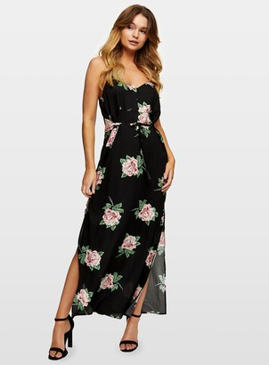 Miss Selfridge Black Floral Print Maxi Dress