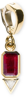 Azlee Small Ruby and Trillion Diamond Charm in Yellow Gold