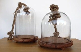 Warings Lifestore - Large Glass Dome With Rope - Glass/Wood