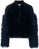 MSGM sleeve detail jacket - women - Viscose/Lamb Fur/Lambs Wool - 42