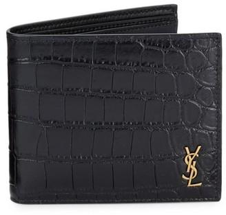 Saint Laurent Crocodile-Embossed Leather Wallet