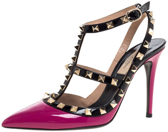 Valentino Pink/Black Patent Leather Rockstud Strappy Sandals Size 36.5