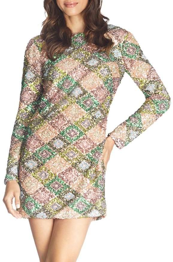 Dress the Population Kensie Sequined Drape-Back Mini Dress