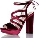 Quiz Wine Velvet Tie Back Platform Heels