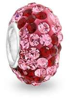 Bling Jewelry 925 Silver Simulated Ruby Crystal Flower Bead Fits Pandora