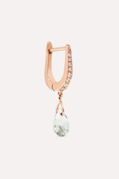 Diane Kordas Cosmos 18-karat Rose Gold, Prasiolite And Diamond Earring