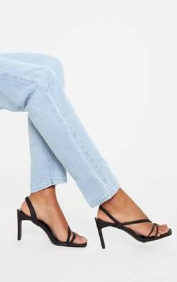 PrettyLittleThing Black Mid Heel Slingback Asymmetric Strap Sandal