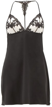 Fleur of England Onyx Lace-cup Silk-blend Nightdress - Womens - Black