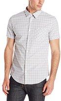 Calvin Klein Men's Grid Plated Binded Short Sleeve Button Down Shirt