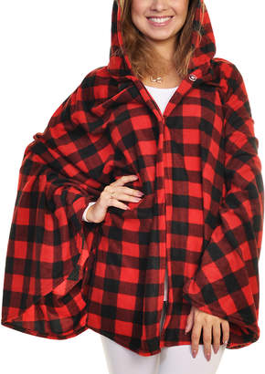 Angelina Women's Sleep Robes Brpla - Red Buffalo Check Fleece Lightweight Hooded Sleeve Blanket - Women