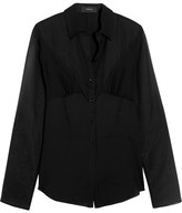 Joseph Nive Georgette-paneled Silk Blouse - Black
