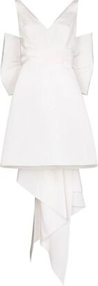 Carolina Herrera Oversize-Bow Silk Mini Dress