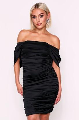 boohoo Satin Ruched Off Shoulder Dress