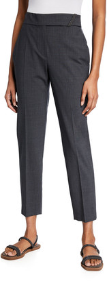 Brunello Cucinelli Tropical Wool Ankle Trousers w/ Monili Belt Loop