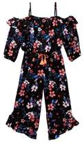 My Michelle mymichelle Floral Print Cold Shoulder Maxi Romper (Big Girls)