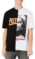Topman Men's Spliced Oversize Future Graphic T-Shirt