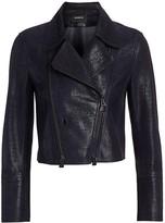 Akris Cropped Leather Moto Jacket