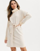 Asos Design DESIGN cowl neck belted mini dress in marl