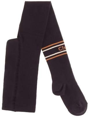 Chloé Kids Logo intarsia cotton-blend tights