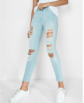 Express mid rise destroyed stretch cropped jean leggings