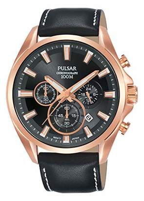 Pulsar Seiko UK Limited - EU Men's Analogue Japanese Quartz Chronograph Sports Casual Dress Watch with Leather Strap with Genuine Leather Strap PT3A28X1