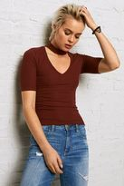 American Eagle Outfitters Don't Ask Why Choker Neck Ribbed T-Shirt