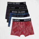 River Island Navy Blue Bandana Print Boxers Pack