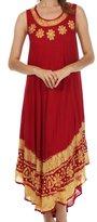 Sakkas A900 Batik Flower Caftan Tank Dress / Cover Up - Chocolarte Gold