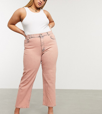 ASOS DESIGN Curve high rise stretch 'slim' straight leg jeans in overdye pink