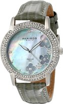 Akribos XXIV Women's AK580GY Lady Diamond Swiss Quartz Diamond Dial Leather Strap Watch