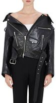 Balenciaga Women's Off-The-Shoulder Leather Biker Jacket-BLACK