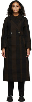 Ganni Brown Canvas Double-Breasted Coat