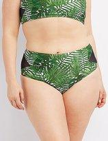Charlotte Russe Plus Size Printed Mesh-Trim Bikini Bottoms