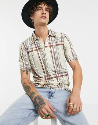BEIGE Sacred Hawk polo shirt in check