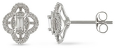 Julie Leah 1/4 CT Vintage Baguette and Round Diamond Stud Earrings in 10K White Gold