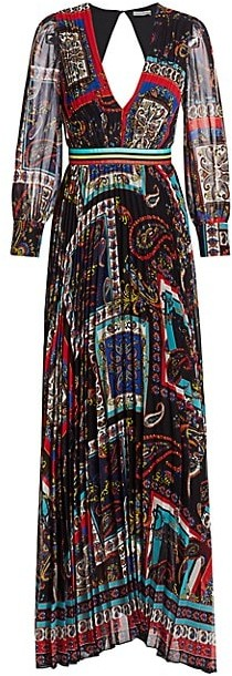 Alice + Olivia Cheney Printed Pleated Maxi Dress
