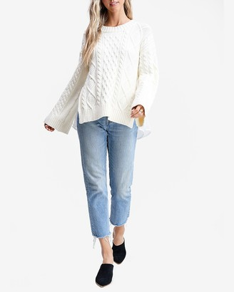 Express En Saison Cable Knit Bell Sleeve Contrast Back Sweater