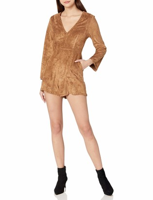 ASTR the Label Women's Beatrice Faux Suede Long Sleeve V Neck Romper