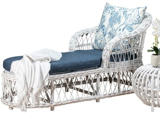 Room & Co Cedros Daybed Distressed White With Navy/floral Cushions