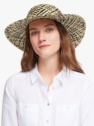 John Lewis & Partners Weave Floppy Sun Hat, Black/Natural Mix