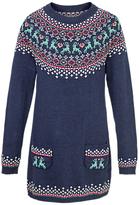 Fat Face Girls' Fair Isle Knitted Dress, Light Navy