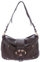 Valentino Embellished Leather Woven Shoulder Bag