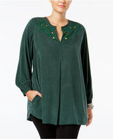 Melissa McCarthy Trendy Embroidered Cutout Tunic